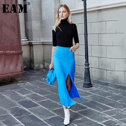 [EAM] High Elastic Waist Blue Vent Split Knitting Temperament Half-body Skirt Women Fashion Tide New Spring Autumn 2020 1M402