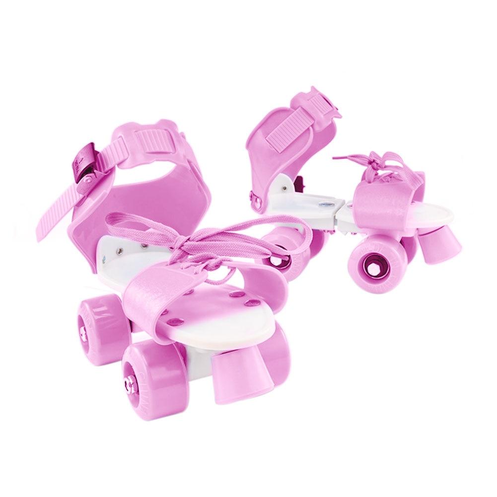 Girl Boy Children Outdoor Skate Shoes Portable Adjustable ABS Roller Non Slip Four Wheel Fixed Gift Kids Double Row