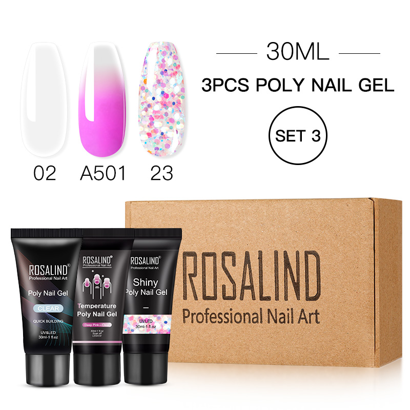 ROSALIND Poly Nail Gel Extension Nail Kit All For Manicure Gel Set Acrylic Solution Water Builder Gel Polish For Nail Art Design 20