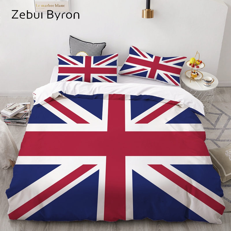 3D Bedding Set Custom/AU,Duvet Cover Set Queen/King,Quilt/Blanket Cover Set,Bedclothes Flag United Kingdom,3pc Bed Set,drop Ship