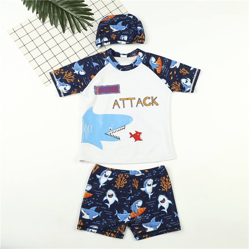Summer Hot Sales BOY'S Split Type Swimsuit Set Cartoon Shark Printed Crew Neck Large Children Swimsuit