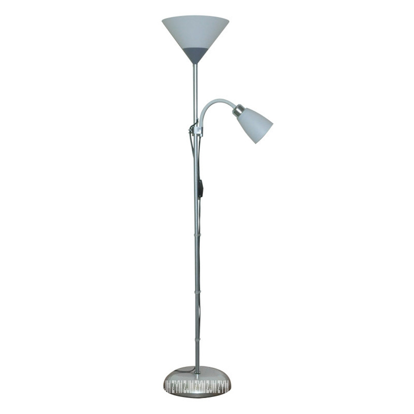 L002 Living Room Bedroom Double Head Floor Lamp Creative Simple Led Bedside Study Decoration Vertical Led Stand Lamp E27 220V