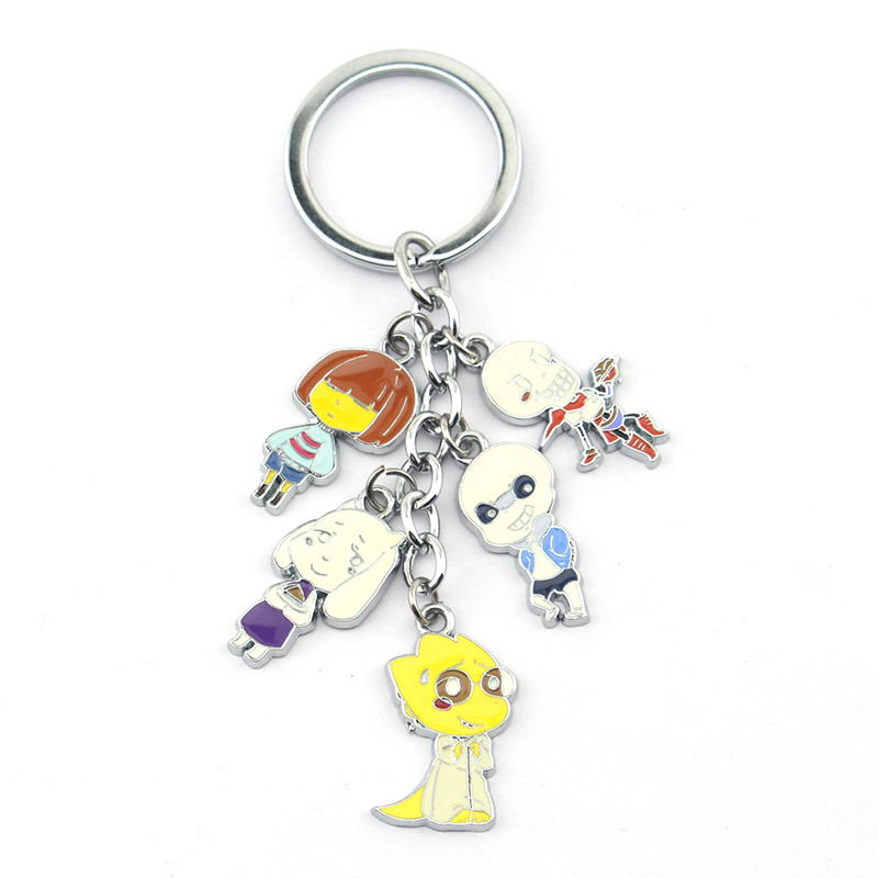 Fashion Game Undertale Alloy Keychain Frisk Sans Toriel Papyrus Alphys Figure Pendant Cosplay Accessories For Key Holder Gift