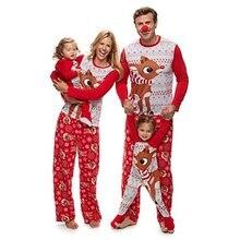 Семейный пижамный комплект; модная Рождественская Пижама для взрослых и детей; одинаковые комплекты для семьи; хлопковая одежда для сна; красная пижама