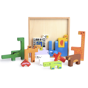 Creative animal shape building blocks toy children wooden jigsaw educational toy game toy children gift