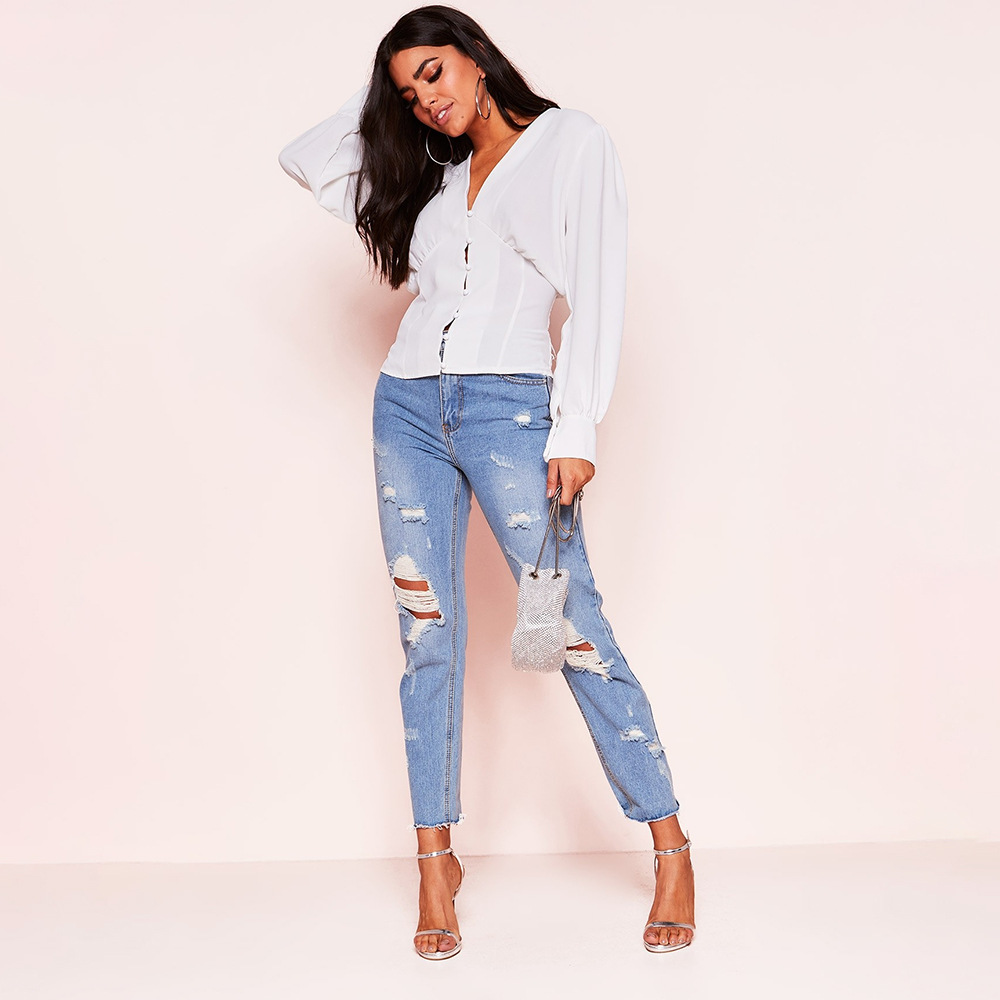 Blouses Woman Solid Color V neck Long sleeved Button Umbilical Slim Shirt Womens Tops and Blusas Femininas Elegante Streetwear in Blouses amp Shirts from Women 39 s Clothing