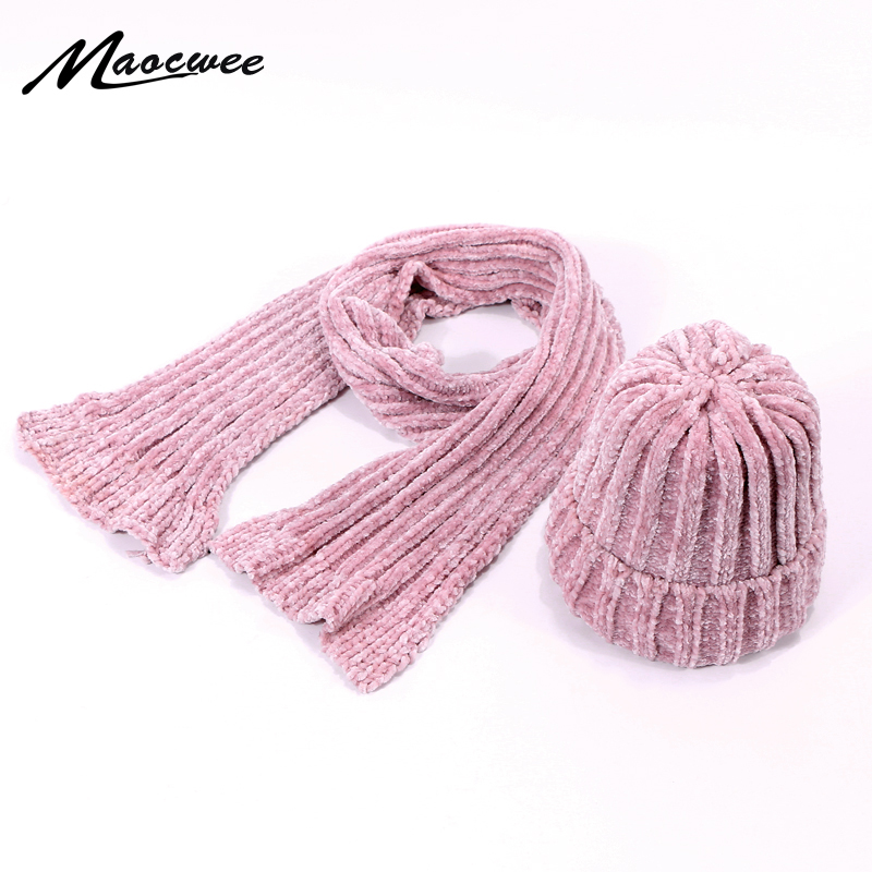Children's Hat Woman's Hat New Warm 2 Pieces Set Autumn Winter Beanie Hats Scarf Chenille Winter Set Female Over Three Year Old