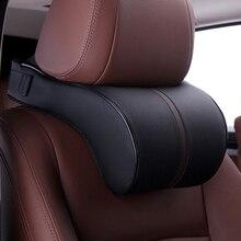 Автомобильная подушка из кожи и хлопка с эффектом памяти, автомобильный подголовник для шеи, подушка для отдыха, подушка для безопасности сиденья, подушки для автомобиля, аксессуары для укладки