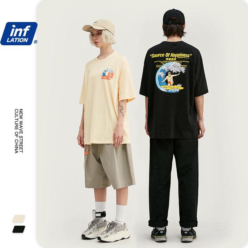 INFLATION 100% Cotton Print Men T-Shirt Casual Loose Men's T-shirt Short Sleeve Harajuku Funny T Shirts футболка мужская 1143S20