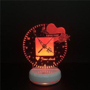 Image 2 - 3D led Nacht Licht Zeit Uhr Lampe Romantische Herz Liebe Sie Magie Obst USB Power Touch Schalter Bunte Fernbedienung Tisch lampe