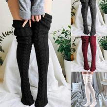 2021 Christmas Socks Women Winter Knit Thigh High Over Knee Stockings Braided Knitted Long Stockings for Daily