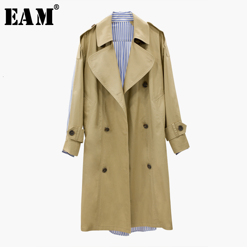 [EAM] 2020 New Autumn Lapel Long Sleeve Back Striped Split Joint Loose Big Size Long Windbreaker Women Fashion Tide JG7790