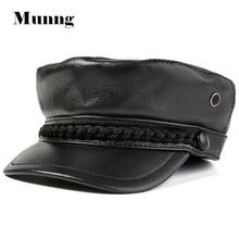 Munng Gentleman 100% Cowhide Leather Newsboy Hat Army Cap Military Patrol Cadet Hat
