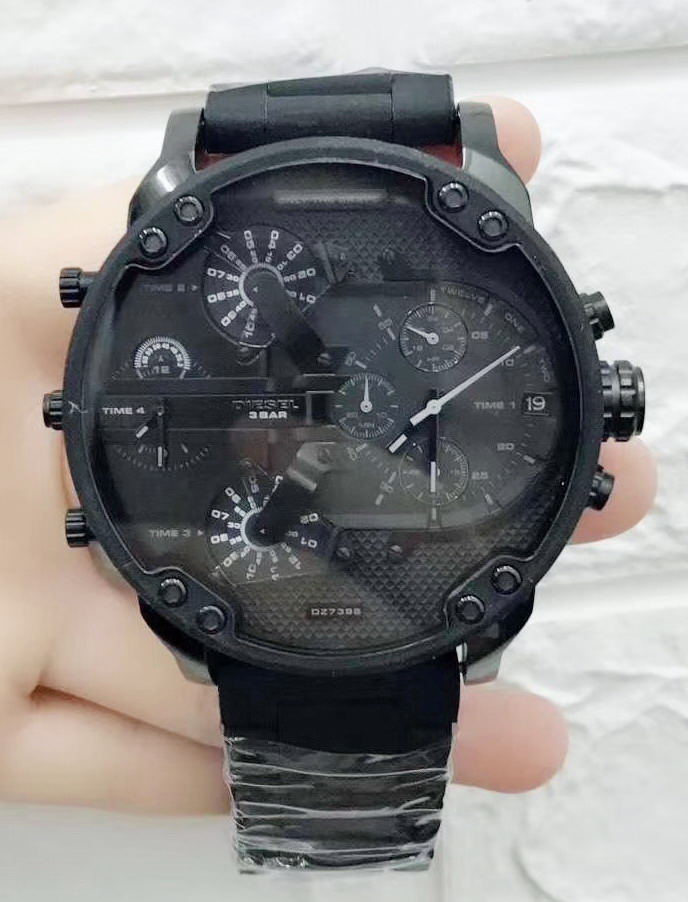 Luxury Brand New Full Black Stainless Steel Red Rubber Plastic Men Watch Chronograph Sapphire Sport StopWatch Big Watches AAA+