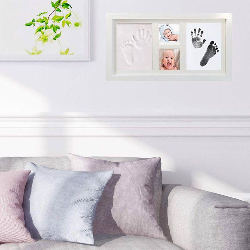 Baby Children Kid Foot Hand Finger Wood Photo Frame Set Print Clay Ink Kit Gift Memory  E65D
