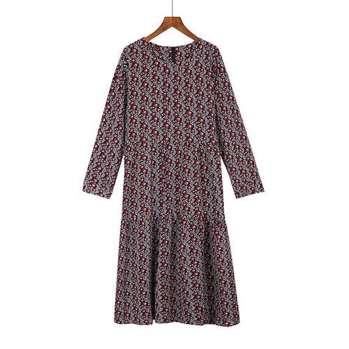 Plus Size 4XL O-Neck Women Print Flowers Shirt Dress Fall Fashion Vintage Long Sleeves Good Quality Female Dress D7N705A 4