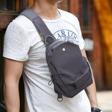 Canvas bag 2020 new simple men's shoulder messenger bag casual fashion chest bag solid color men's bag trend Single Sequined(China)