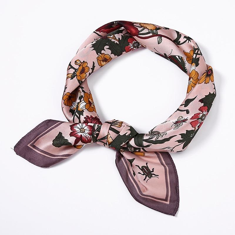 Cross Border Accessories Silk Scarves Women's 2019 New Style Spring Silk Scarves Women's Decoration Flower Small Neckerchief INS