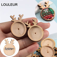 Louleur Plain Wood Cabochon Brooch Base Settings DIY Deer Shaped Paperclip Christmas Brooches Bezel Tray Jewelry Making Supplies(China)