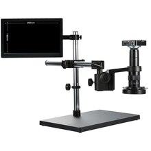 Completo hd 38mp 1080p 2k 60fps câmera de vídeo microscópio 120x 180x 300x hdmi usb lupa de armazenamento cartão tf reparação soldagem