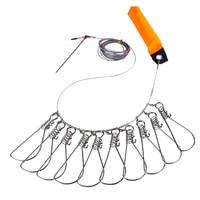 6 metros ao vivo peixe bloqueio fivela de fio corda & 10 snaps aço pesca stringer clips ferramenta acessórios pesca enfrentar pesca