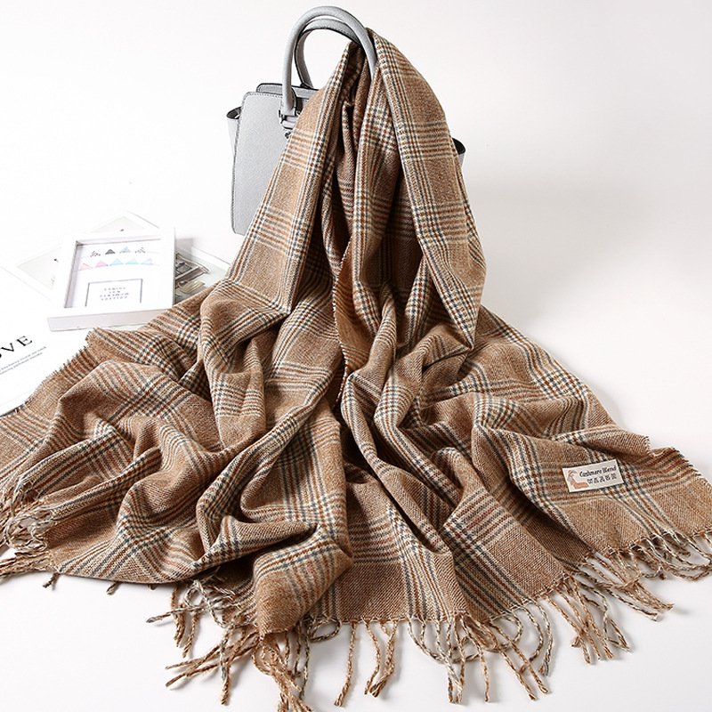 Korean Version All-match Napped Scarf Women Winter Long Thick Striped Fringed Pink Wool Scarf Air-conditioned Room Shawl