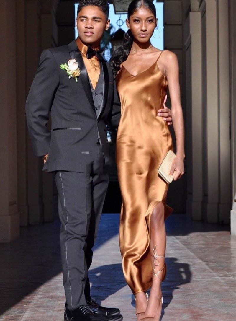 V Neck Long Prom Dresses 2020 Satin Gold Sexy Side Slit mermaid Evening Party Dress Formal Gowns Vestidos De Festa