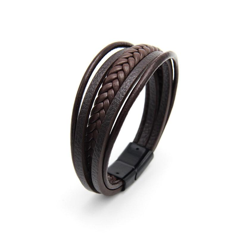 Мужской браслет, многослойный кожаный браслет с магнитной застежкой, Воловья кожа, плетеный многослойный браслет, модный браслет на руку, pulsera hombre - Окраска металла: Coffee and Black