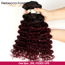 Rebecca Ombre perulu derin dalga demetleri 3/4 adet Remy 2 ton renk T1B/27 # T1B/30 # t1B/99J # 100% İnsan saç demetleri