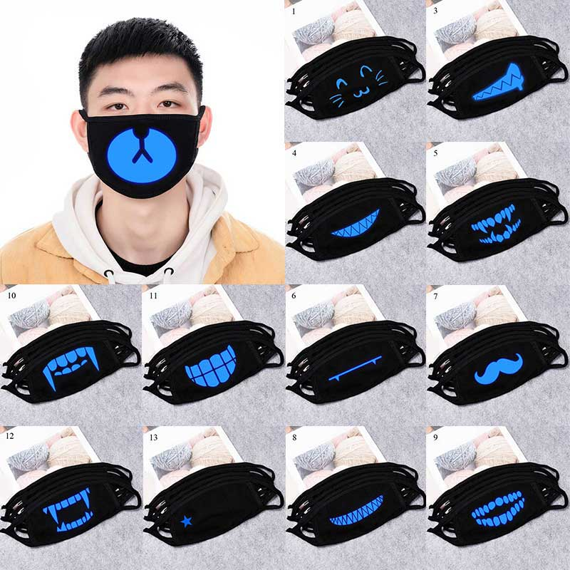 2020 New Cotton Dustproof Black Face Mask Cartoon Glow In Dark Mouth Mask Anime Woman Men Breathable Riding Mask