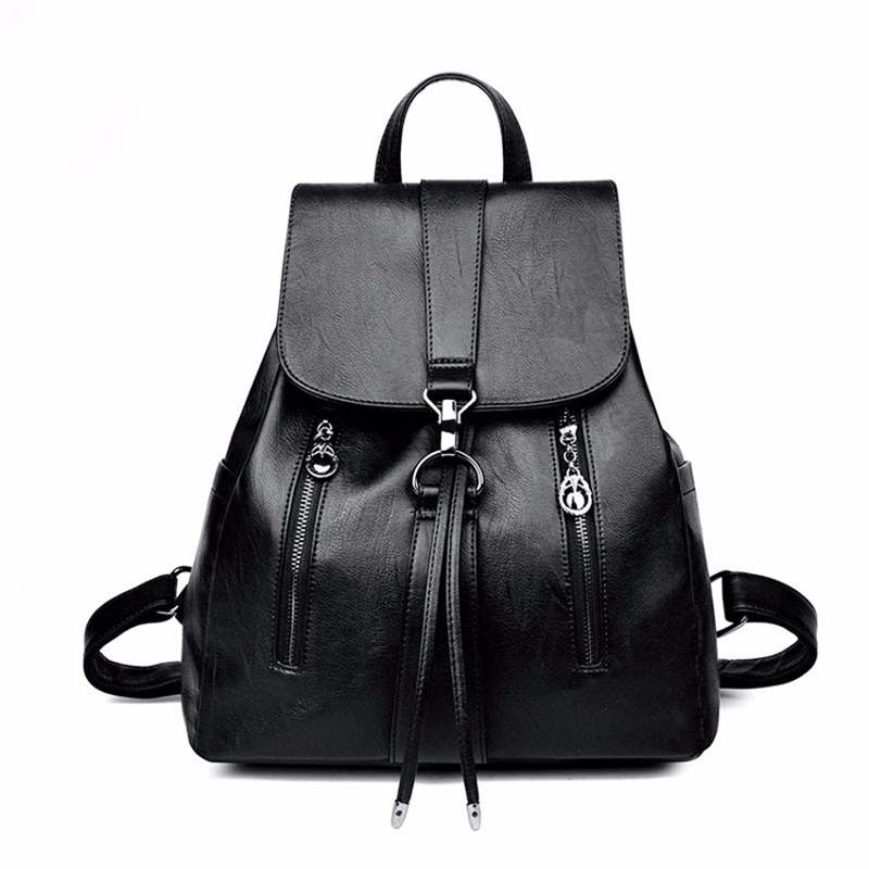 Backpack Ladies Casual Large Capacity Trend Double Zipper Backpack Beautiful Drawstring Backpack Convenient