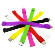 Pendrive usb 2.0 usb do flash da movimentação pendrive do texto me criativo 10 cores pulseira pendrive 4g 8g 16g 32g 64g