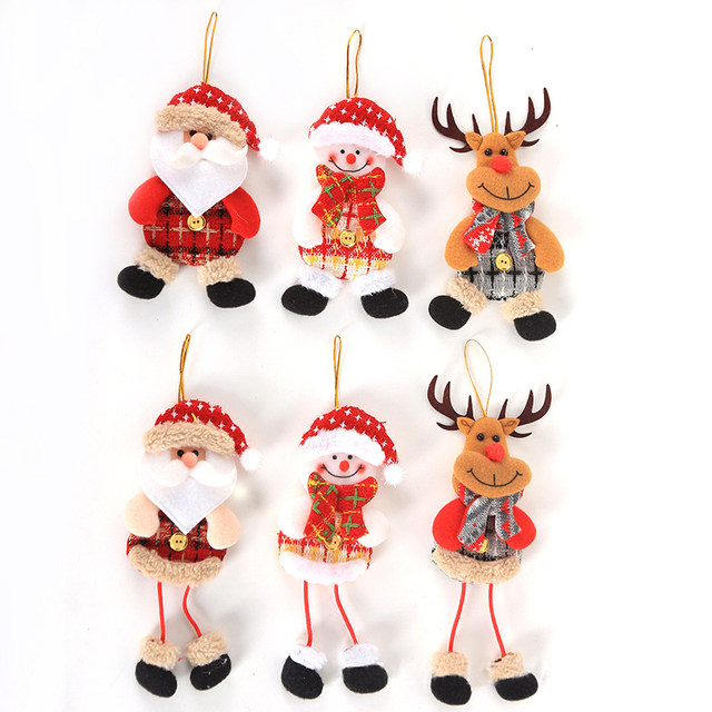 2019 New Small dolls Christmas tree decorations pendant Christmas day children's small gifts hanging lanyard dolls 16