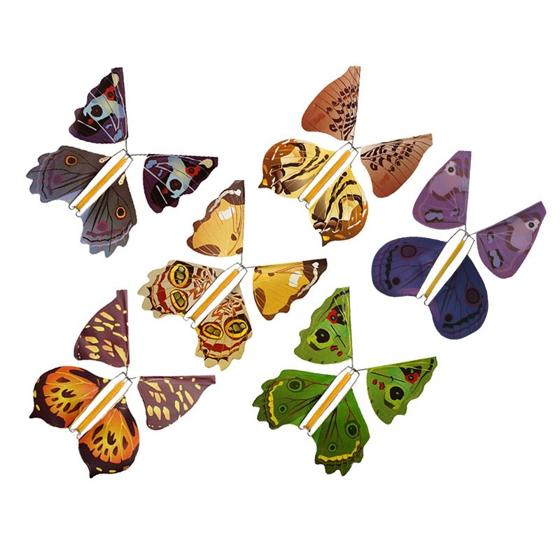 Metal Bracket Butterfly Rubber Band Power Wind Up Butterfly Toy (6Pcs)