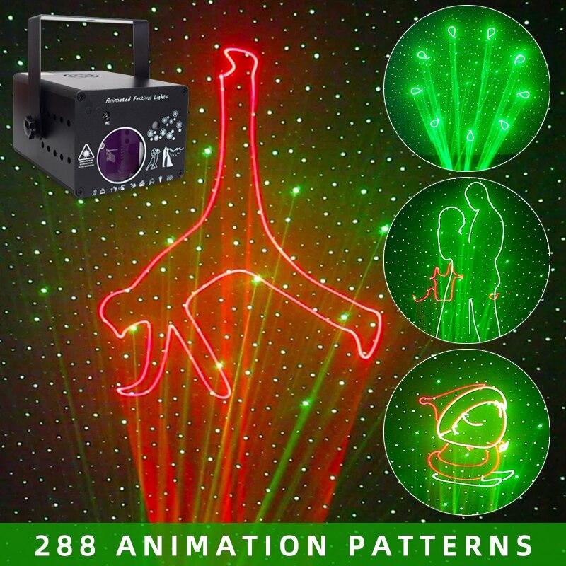 YSH DJ Disco Light 288 анимационный лазерный проектор, сценический световой эффект, активация звука, вечерние лампы для свадьбы, отдыха, клуба