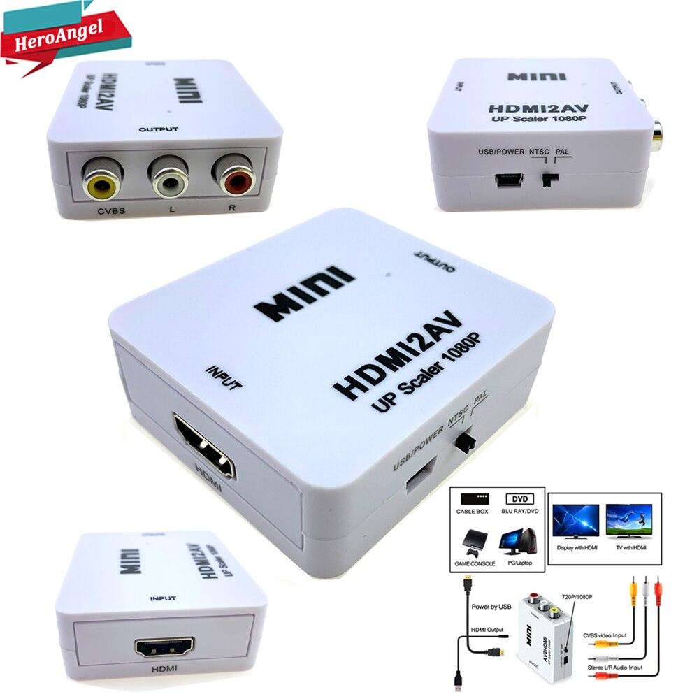 HDMI TO AV Scaler Adapter HD Video Converter Box HDMI To RCA AV/CVSB L/R Video 1080P HDMI2AV Support NTSC PAL Wholesale