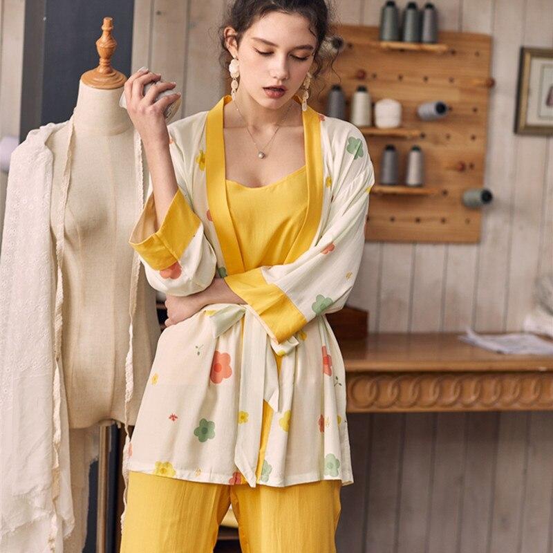Sleepwear Women Lovely Sweet  Pyjamas Ladies Princess Sleep Lounge Pajamas For Woman Long Sleeve Pajamas Autumn Spring Cotton