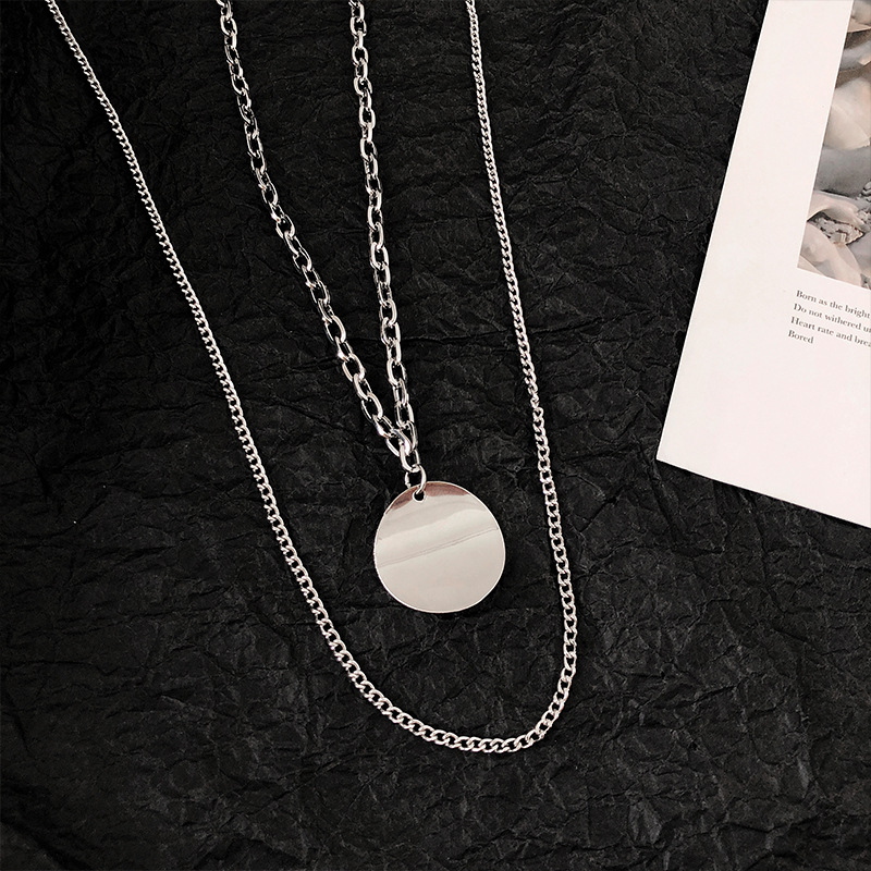 Купить с кэшбэком Titanium Alloy Polished Mirrored Round Plate Pendant Necklace Shine Stainless Steel Disc Jewelry Double Chain Hiphop Rock Ms