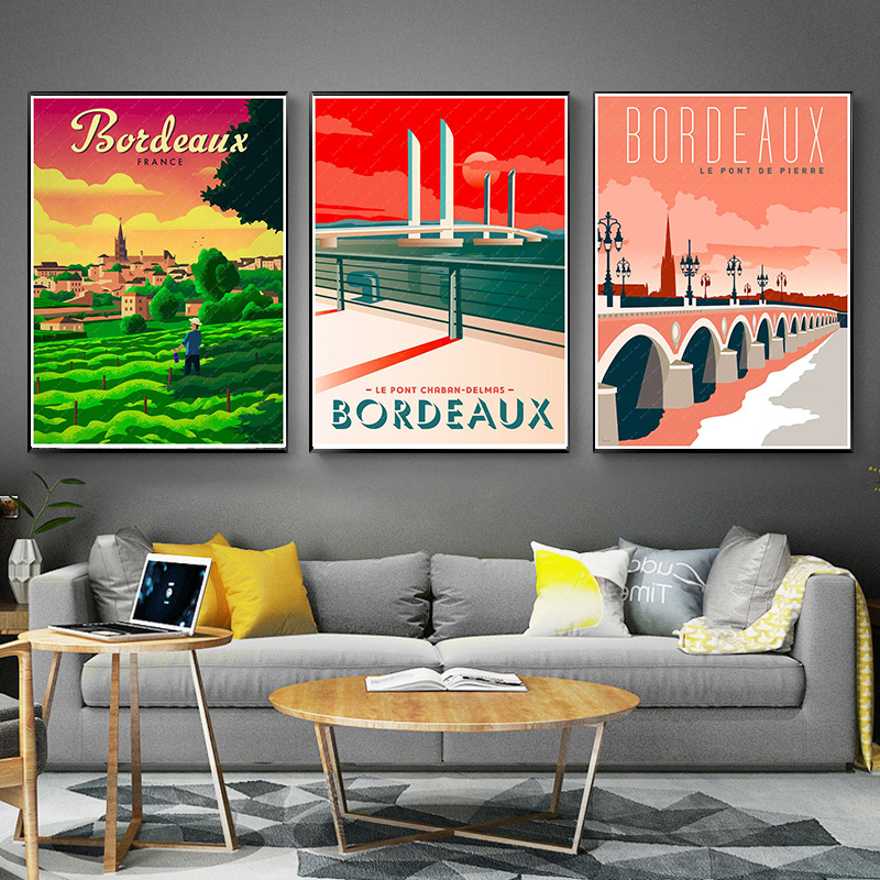 picture home decor gift wall art France Bordeaux print travel poster