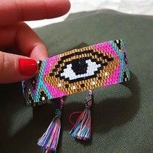 Женский браслет ручной работы SHINUSBOHO, браслет с геометрическим узором и кисточками на удачу, амулет