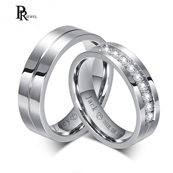 Bling Cubic Zirconia Wedding Band Rings Free Engraving Record Name Date Love Info Stainless Steel Custom Jewelry 1