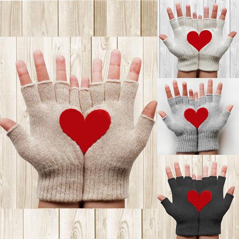 1 Pair New Fashion Women Love Printed Winter Warm Magic Knitted Stretch Elastic Mitten Half Finger Fingerless Gloves