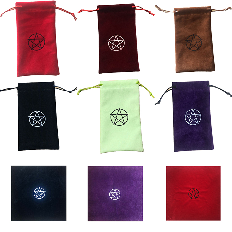 1pc Velvet Pentagram Tarot Storage Bag Board Game Card Embroidery Drawstring Package Tarot Tablecloth P002