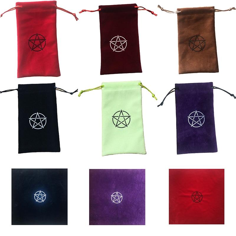1pc Velvet Pentagram Tarot Storage Bag Board Game Card Embroidery Drawstring Package Tarot Tablecloth P002