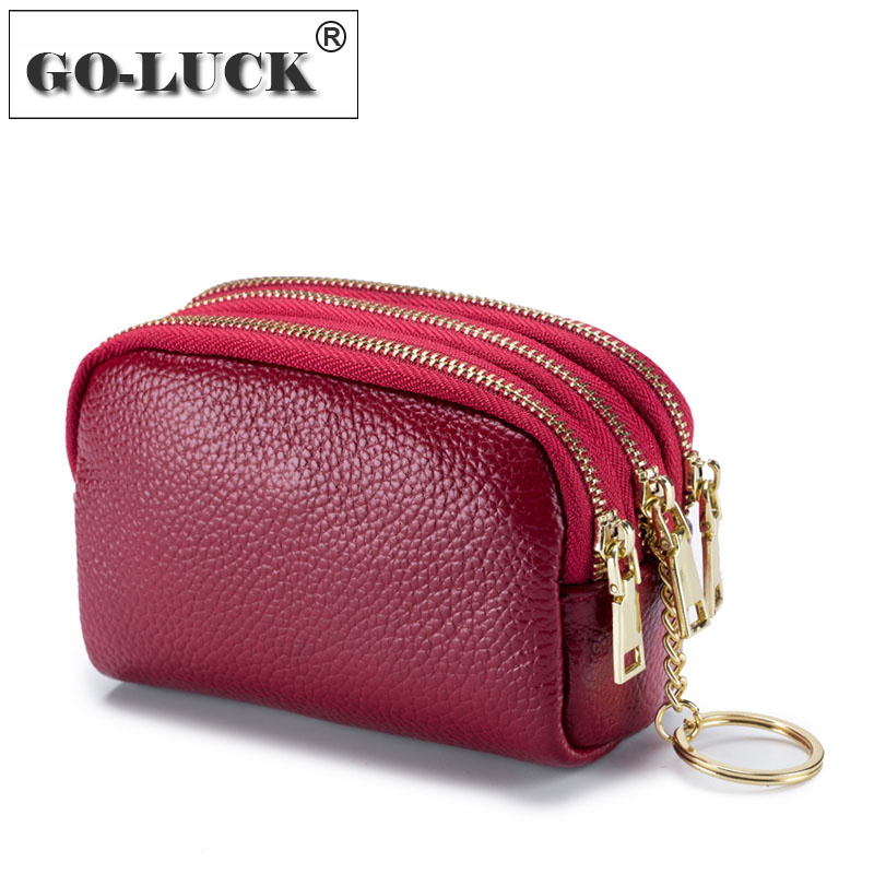 GO-LUCK New Women Coin Purse Hand Cosmetic Lipstick Earphone Bag Cowhide Leather Cash Wallet 3 Zipper Layers Matel KeyChain