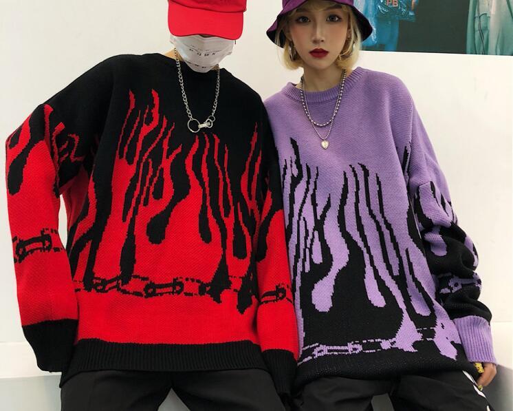 Женский вязаный Топ в стиле Харадзюку, Свободный пуловер с изображением пламени в уличном стиле, пуловер для пары, Осень-зима