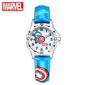 Детские Кварцевые часы с героями мультфильмов «Marvel», «мстители», «капитан», «Amrica», синие и черные мягкие наручные часы из искусственной кож...
