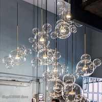 Modern Pendant Light Clear Glass Led  Pendant Lights Soap Bubble Ball Fixtures Indoor Lighting Hanging Lamp Light Fixtures