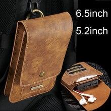 Retro caso de couro do plutônio saco do telefone para o iphone xs max xr 6 7 8 mais slot para cartão carteira para xiaomi para huawei cinto clipe titular coldre