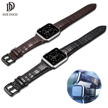 DUX DUCIS Genuine Leather Watch Band for Apple Series 4 3 2 1 Crocodile Grain Strap Iwatch 40mm 44mm 38mm 42mm